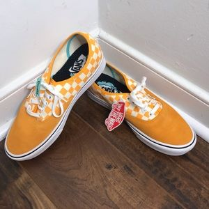 """NWT Vans """"Authentic"""" Yellow/White Checker Shoes"""